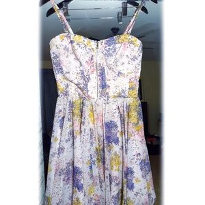 Guess Chiffon Ribbed Baby Doll Floral Dress